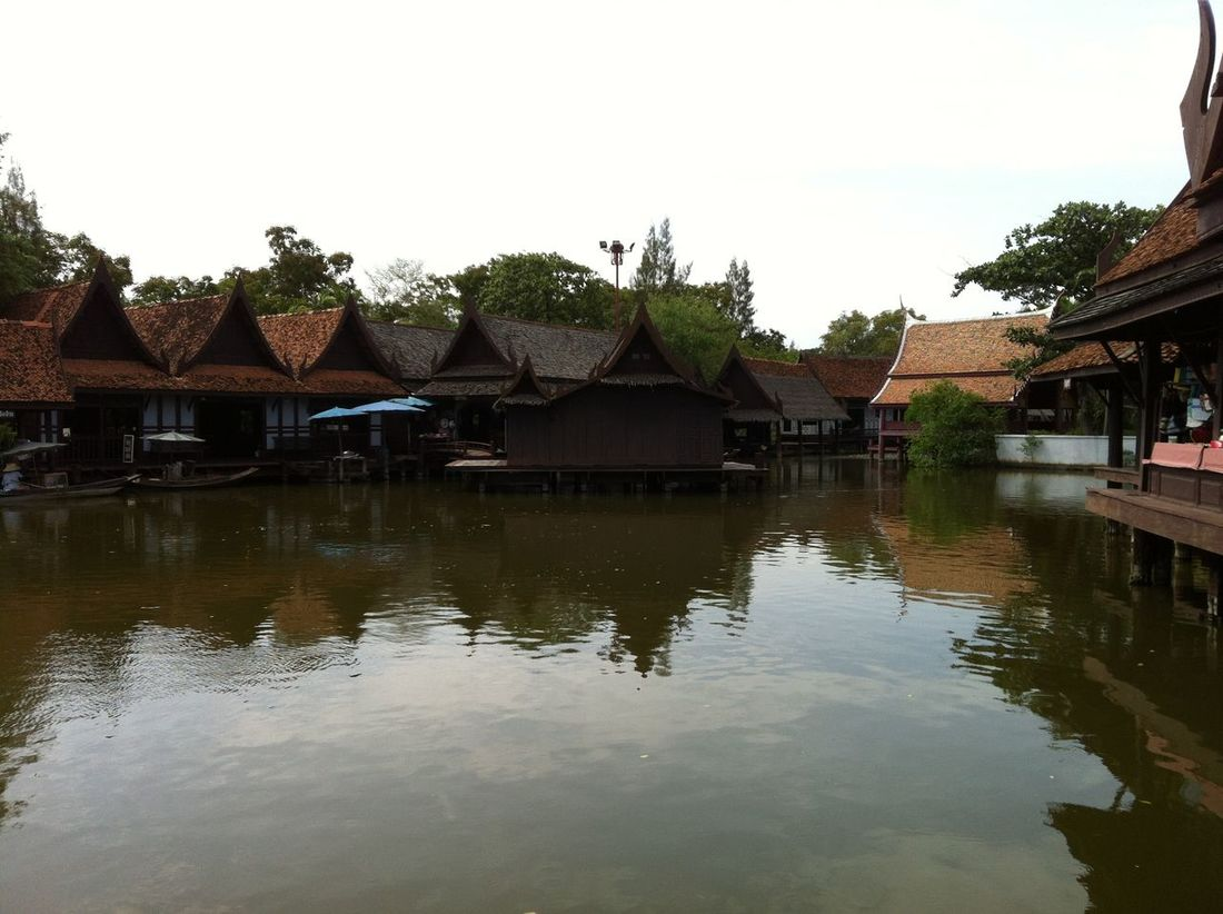 Photos of Bangkok, Thailand 2012 Architecture Building Exterior Built Structure Cultures Day House Lake Mammal Nature No People Outdoors Sky Thatched Roof Tree Water