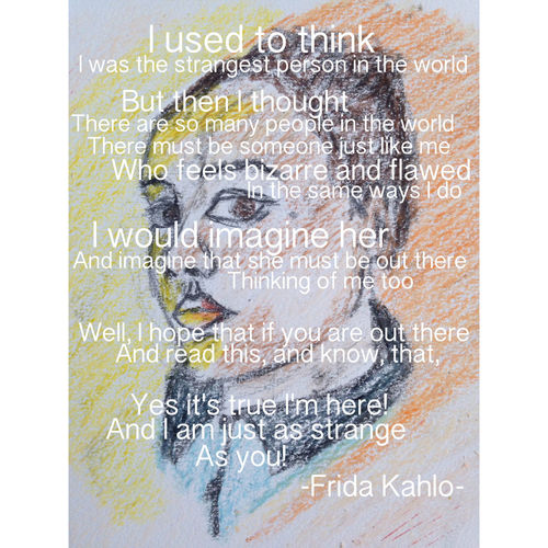Frida Kahlo Getting Inspired Self Portrait Life Quotes Drawing Lonely