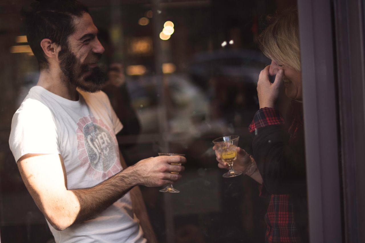 Wine Moments Two People Alcohol Drink Friendship Drinking Togetherness Happy Hour Young Adult Holding Lifestyles Drinking Glass Bar Counter Cheerful Leisure Activity Bonding Young Women Indoors  Smiling Nightlife