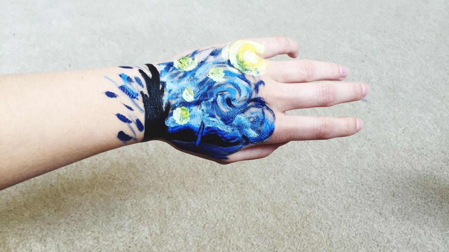 Vangogh Hand Drawing Draw Sternennacht Blue Yellow Black