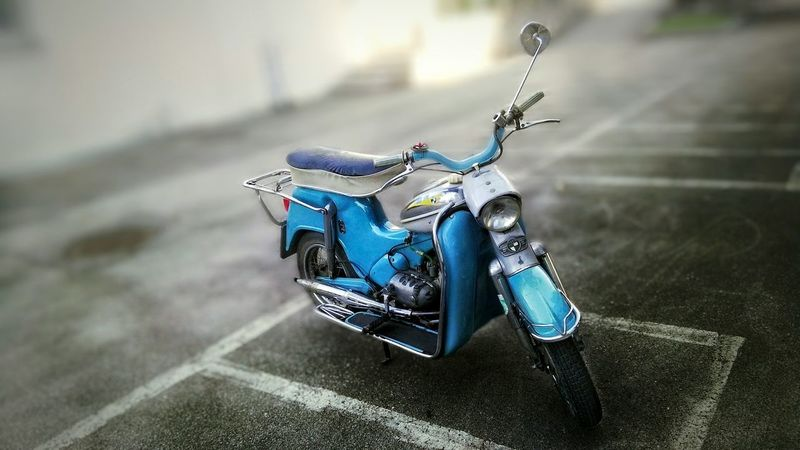 Puch 1965 Ds60, Parking Blue Nostalgic  Moped, wrong Blured on: scool-parking-place. Bei in: DORNBIRN Poly