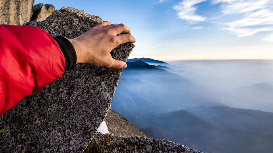 Something so far, so close Adult Adults Only Adventure Climbing Close-up Hiking Human Body Part Landscape Moro Rock Mountain Mountain Peak Nature One Man Only One Person Outdoors Rock Sequoia National Park Snow Travel Travel Destinations Vacations The Secret Spaces Break The Mold