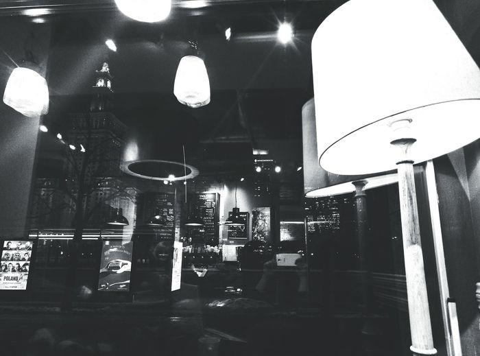 Center Warsaw Poland Night Lights Night BackToBlack Night Life Coffee Coffeetime Greencaffenero