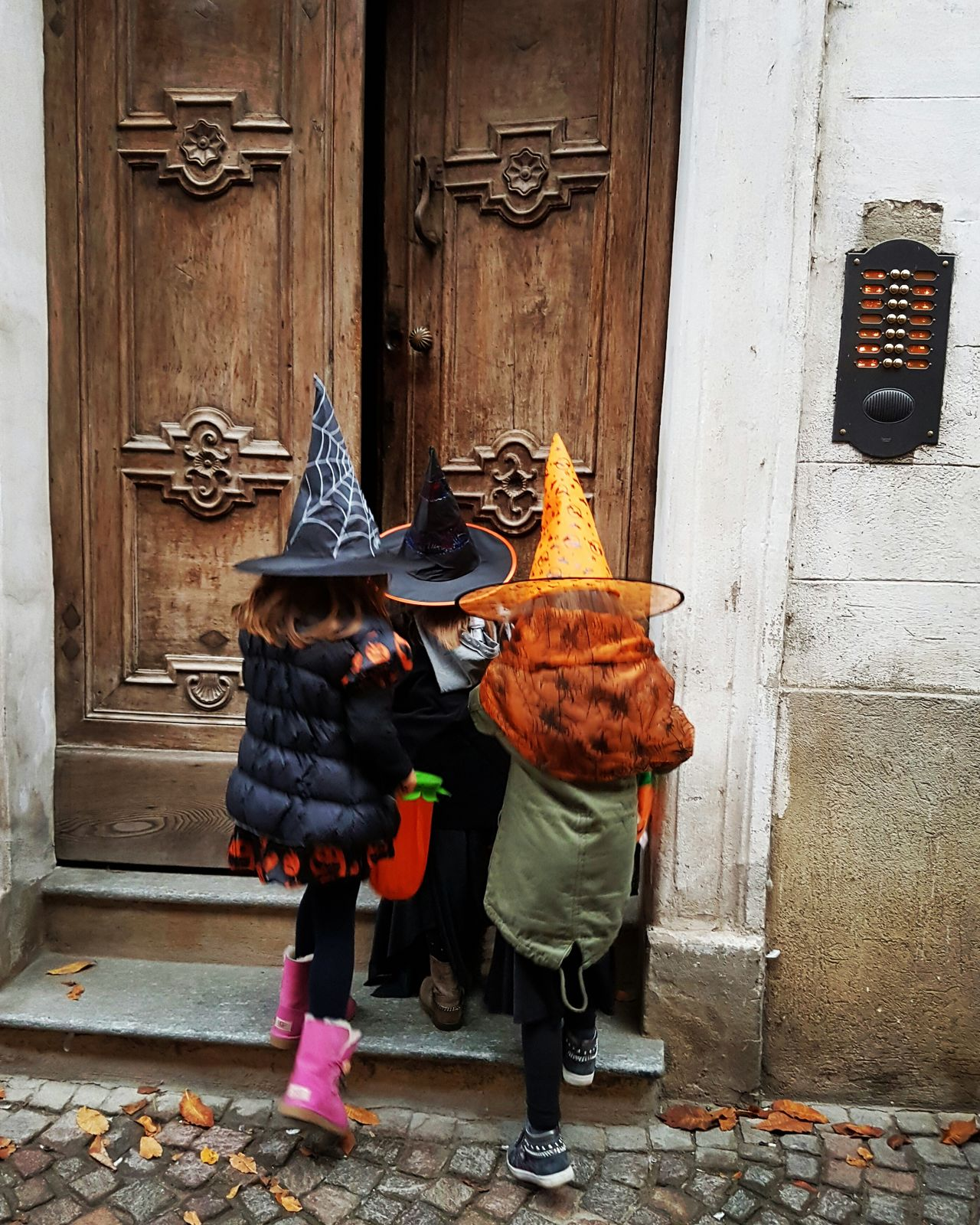 Door Building Exterior Outdoors Three Girls Three Little Girls Trick Or Treat? Funtimes Halloweenfun Halloweentime Halloween Children Photography Childhood Childhood Friend Day