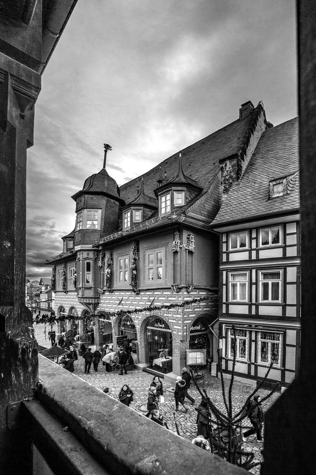 A Cafe in Goslar Germany Battle Of The Cities Architectural Column Architecture Building Exterior Built Structure City Life Cloud - Sky Day Façade Germany Goslar House No People Old Town Old Town Outdoors Sky Town Window Monochrome Photography