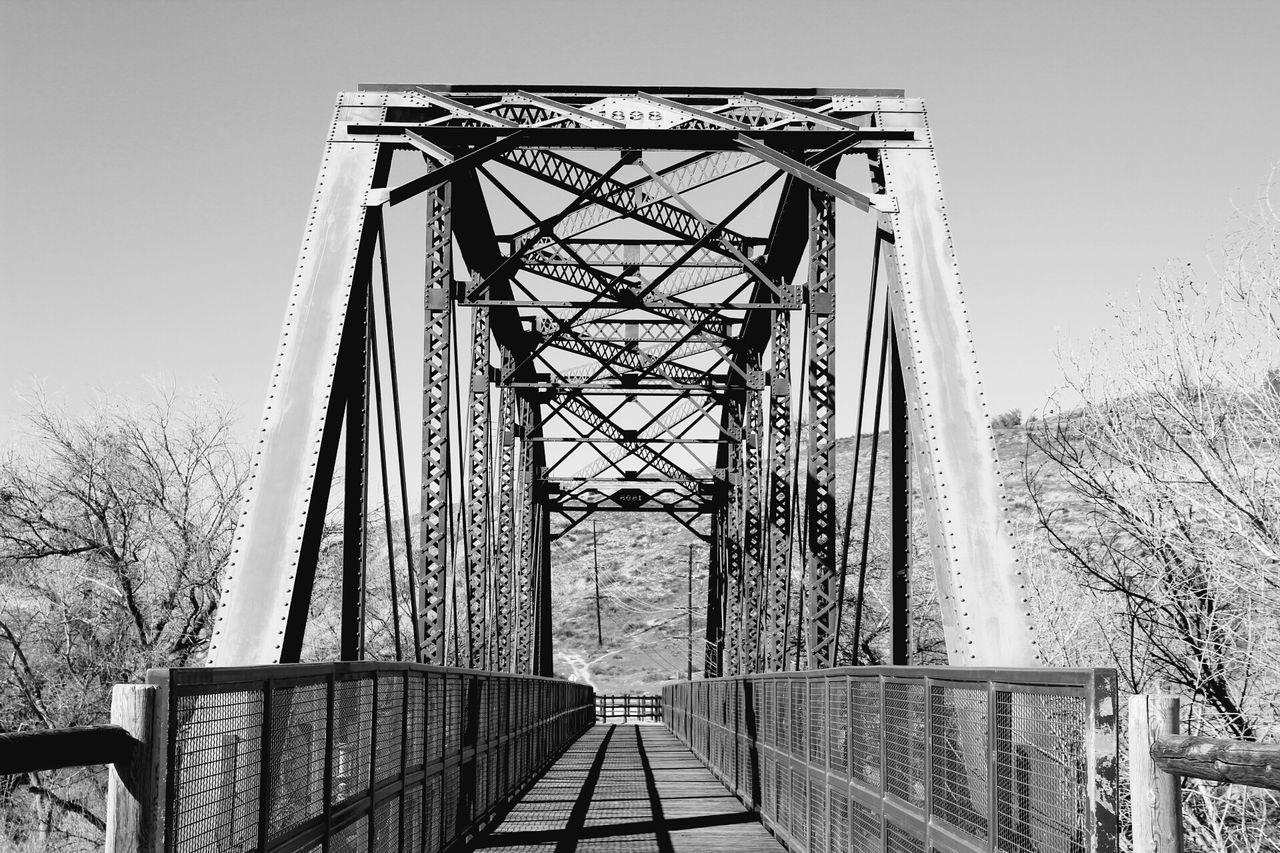 taking pictures today Metal Built Structure Bridge Bridge - Man Made Structure Railing Steel Architecture Sky Outdoors Tree Day People Black And White Black And White Photography Lines Patterns Pattern, Texture, Shape And Form Man Made Bike Trail The Great Outdoors Drought Mountain View Vanishing Point Walkway