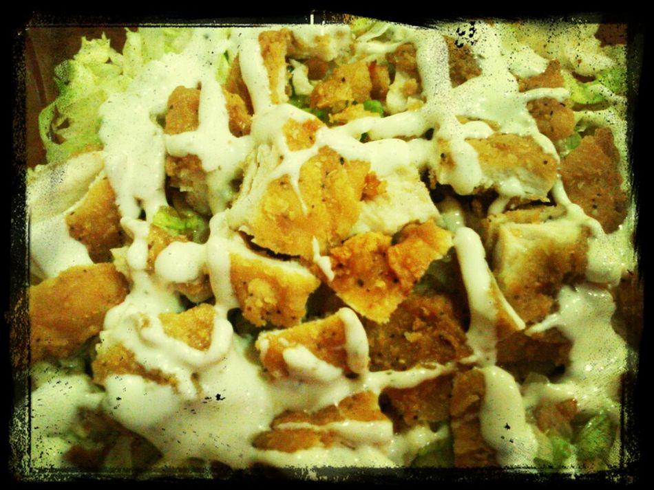 HEALTHY Good (; FATSalad + Spicy¡&Crispy Chick. + Yellow Peps. + Bacon = Goin' Healthy Slowly (;