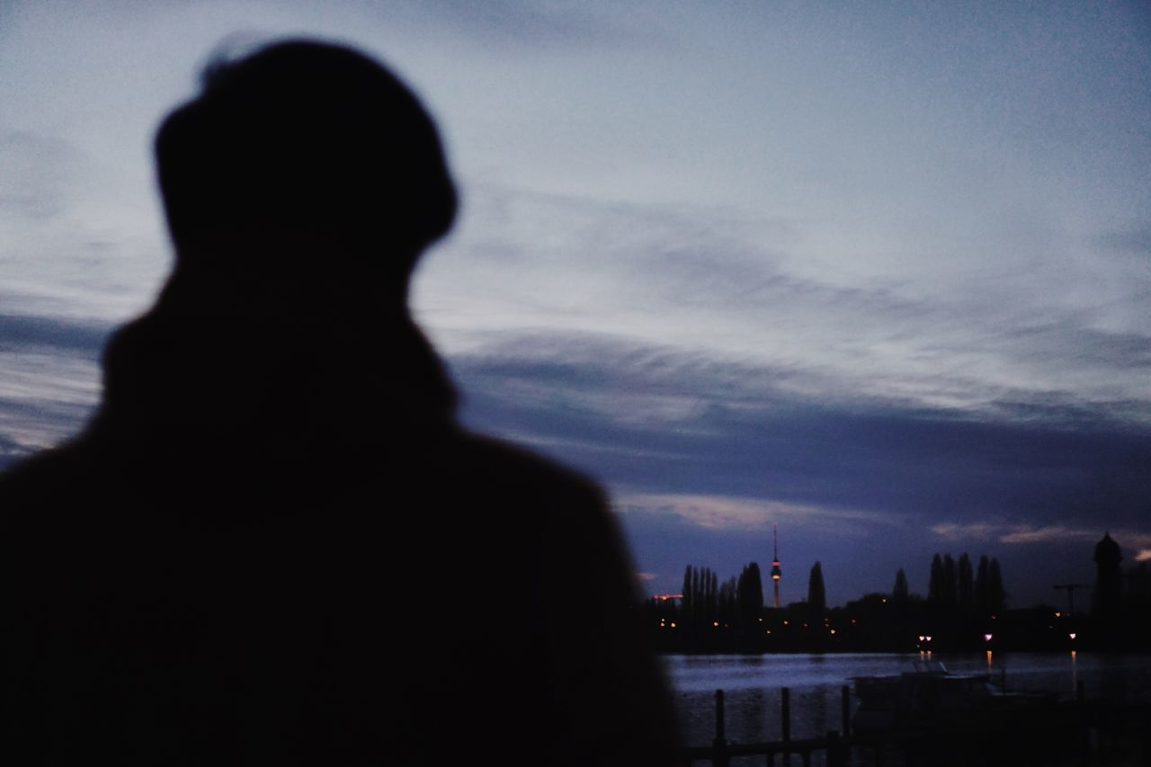 Silhouette City Sky Cloud - Sky Outdoors Enjoying The View Real Photography Berlin Photography City Life Cityscape Berlin City Water Tvtower Looking To The Other Side Bokeh Real People Lifestyles Men Night Enjoying Life Looking Into The Future Only Men