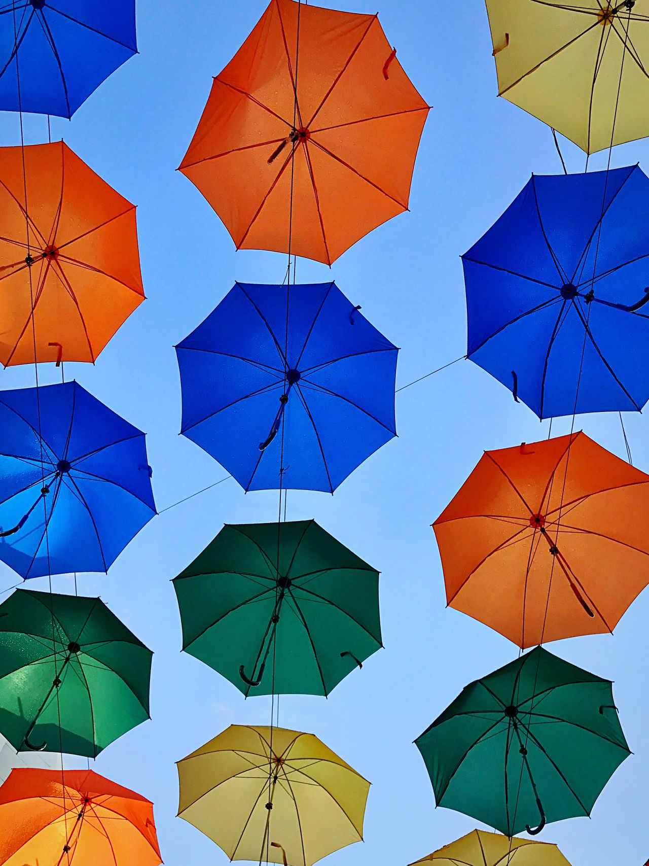 EyeEm Selects Umbrella Protection Full Frame Multi Colored Low Angle View Composition Blue Variation Day Neat Crowd Modern Clear Sky Outdoors People Sky Umbrella Alley Neon Life
