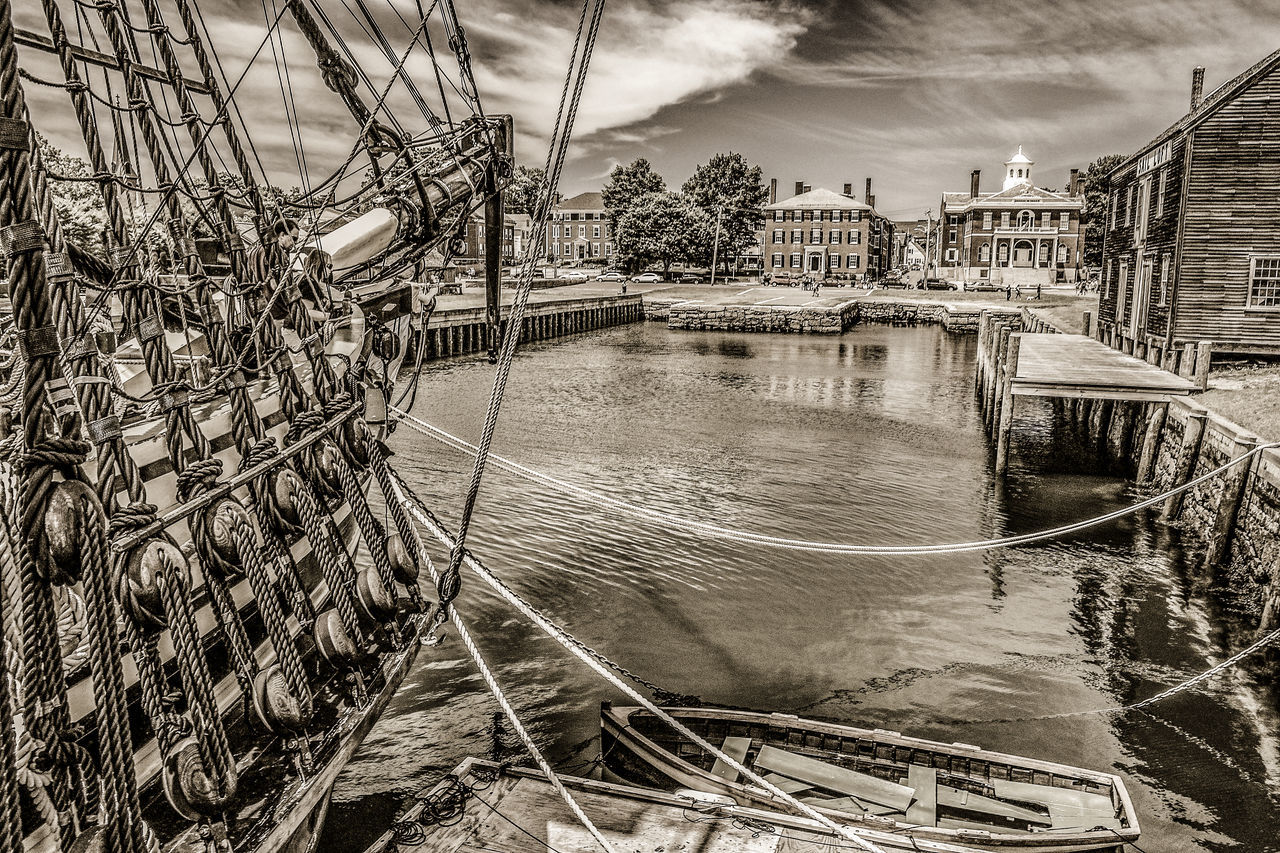 Friendship Of Salem Harbor National Historic Site Salem Mass Harbor . Architecture Black And White Building Exterior Built Structure City Day Dinghy Nature Nautical Vessel No People Outdoors Rigging River Rope Rigging Sky Transportation Water Wood House