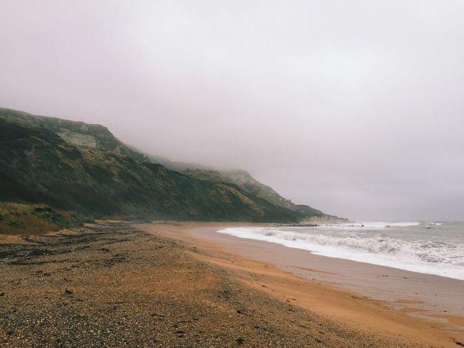 Foggy beach Beach England Coastline Coast Sea Fog Mist Bay Waves Ocean Cliff Cliffs Dorset