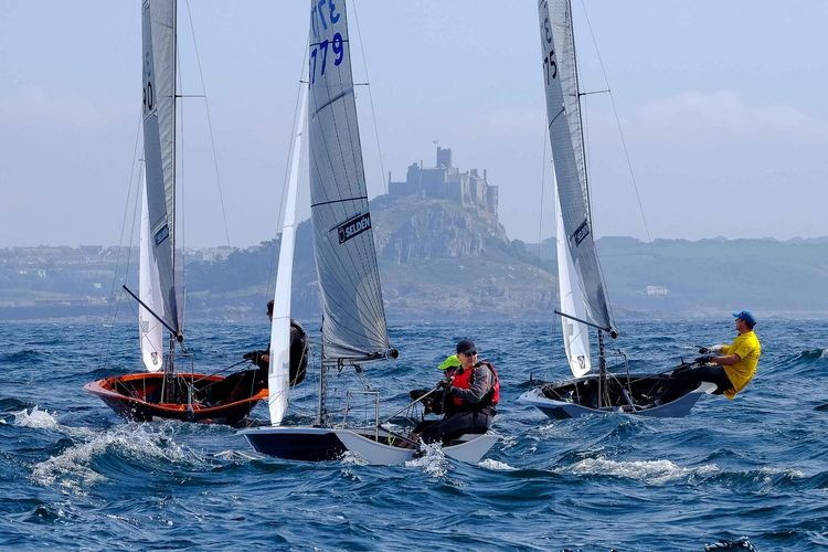 Blue Sky Day Dinghy Extreme Sports Leisure Activity Lifestyles Mast Men Mode Of Transport Nature Nautical Vessel Occupation On Water Outdoors Racing Sailboat Sailing Sea Sport St Michaels Mount Team Work Transportation Water Waterfront Wave