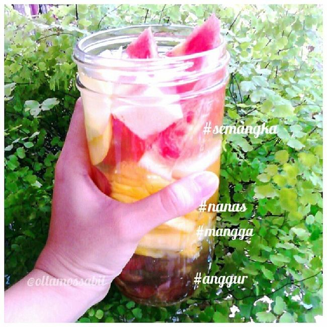 Bissmilahirahmanirahim .. Infusedwater for Weekend .. .. Semangka Nanas mangga anggur plus perasan jeruk nipis .. .. this's just a simple infused water .. feel free for tagging and mention me at ur infused water .. thanks ~ <3