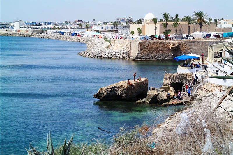 Architecture Water Travel Destinations Sea Vacations Coastal Feature Summer Blue Tourist Resort Mahdia Tunisia NX2000 Seaside Rocks Swimming Sunny
