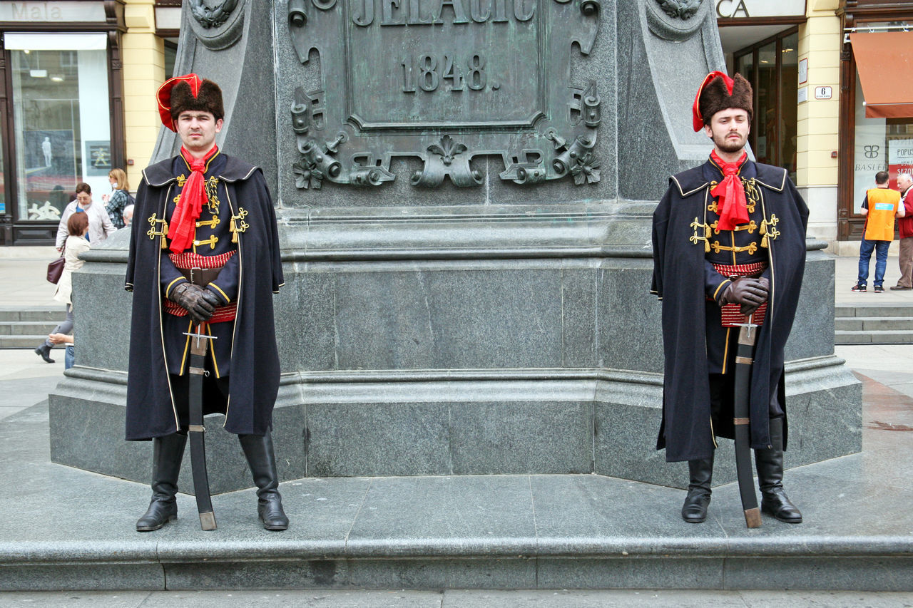 Honorary guard,1,Jelacic's monument,Zagreb,Croatia,EU, 2016. Ban Josip Jelacic City City Life Croatia Day Eu Guard Honorary Honorary Guard Jelacic's Monument Jelacic's Square Outdoors Uniform Zagreb