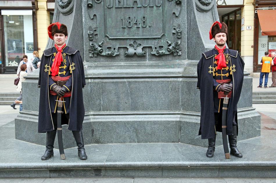 Honorary guard,1,Jelacic's monument,Zagreb,Croatia,EU, 2016. Ban Josip Jelacic City City Life Croatia Day Eu Guard Honorary Honorary Guard Jelacic's Monument Jelacic's Square Outdoors Uniform Zagreb