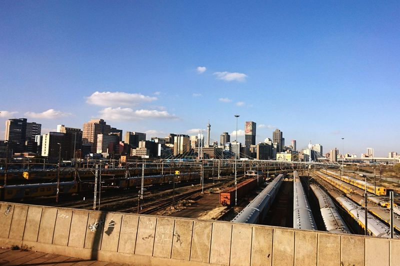 City Life Train Trains Train Tracks Railway Buildings Buildings & Sky City Exploring Architecture Blue Sky Johannesburg South Africa Art Is Everywhere