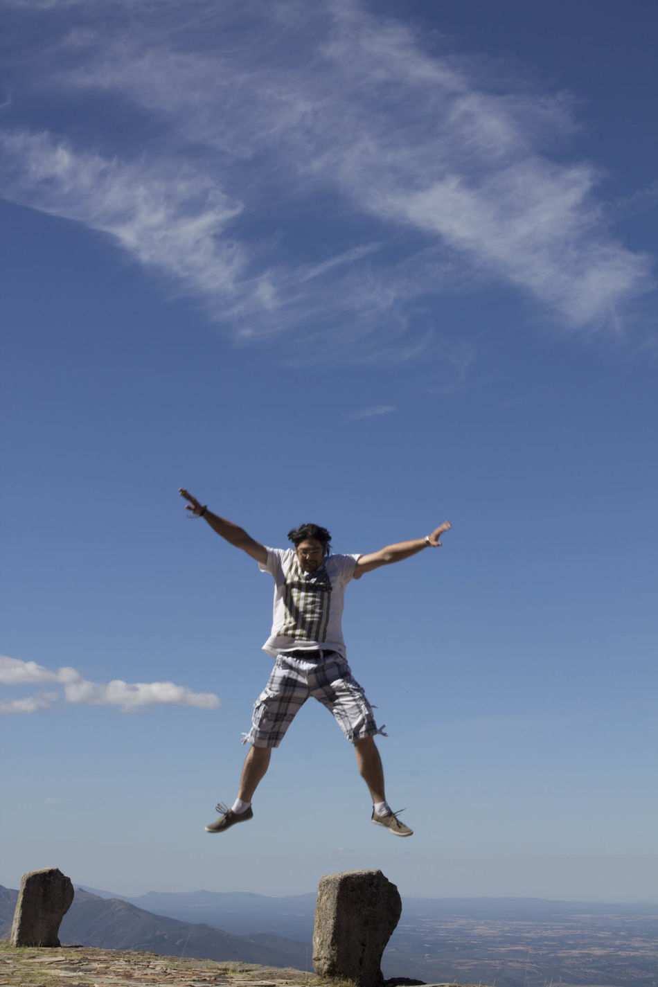 Beautiful stock photos of jump, Arms Raised, Asian And Indian Ethnicities, Beauty In Nature, Blue