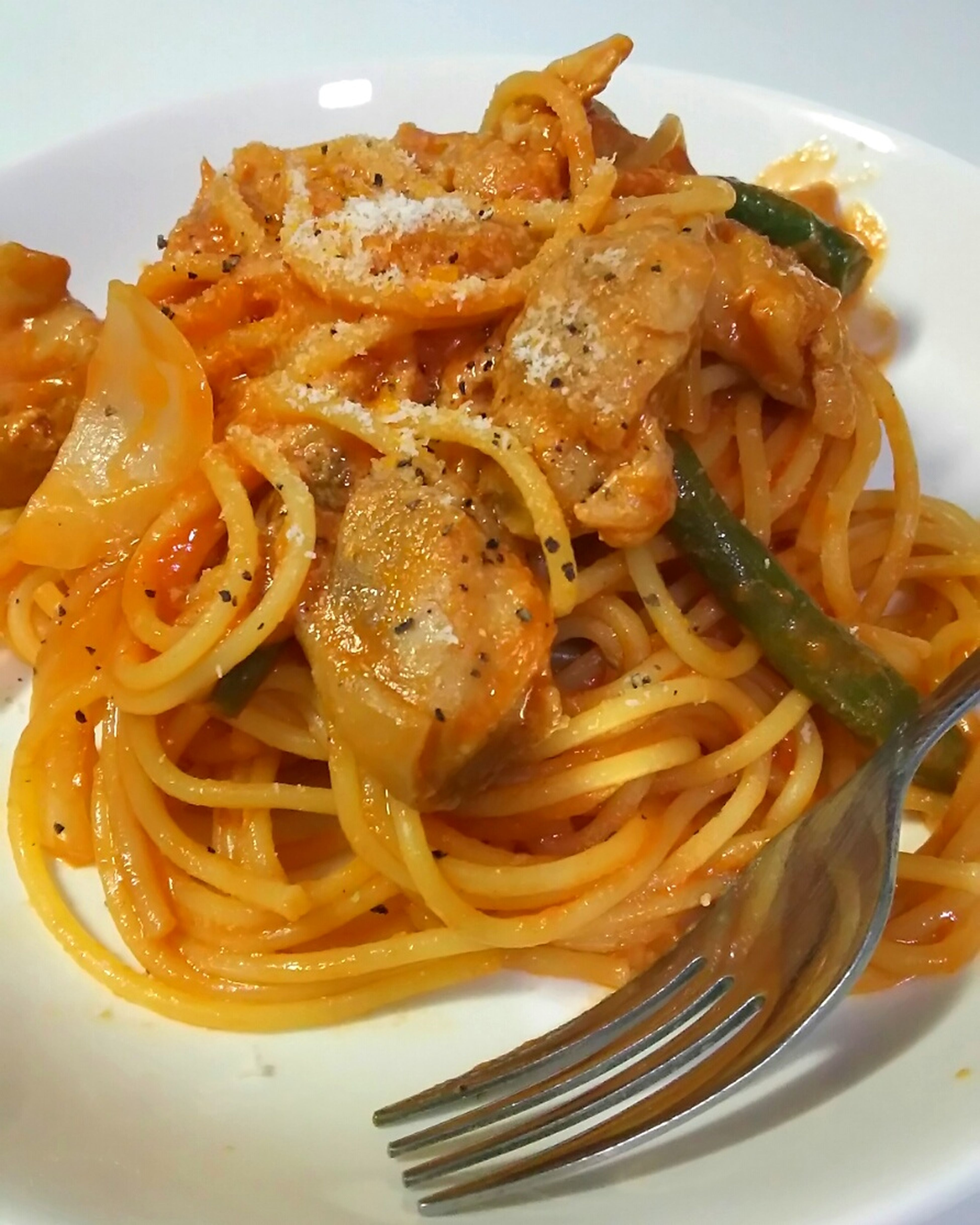 今夜はチキンとインゲンのナポリタン🍝 ナポリタン 洋食 Dinner Foodporn Enjoying A Meal Pastaporn 自画自賛👅我ながら🍝めっちゃ旨かったϋ♡