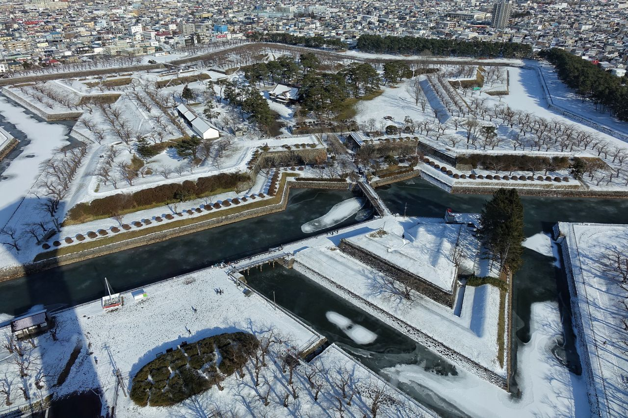 Snow Winter Cold Temperature Architecture High Angle View Weather Outdoors Cityscape Goryukaku Goryukaku Koen Tower Hakodate