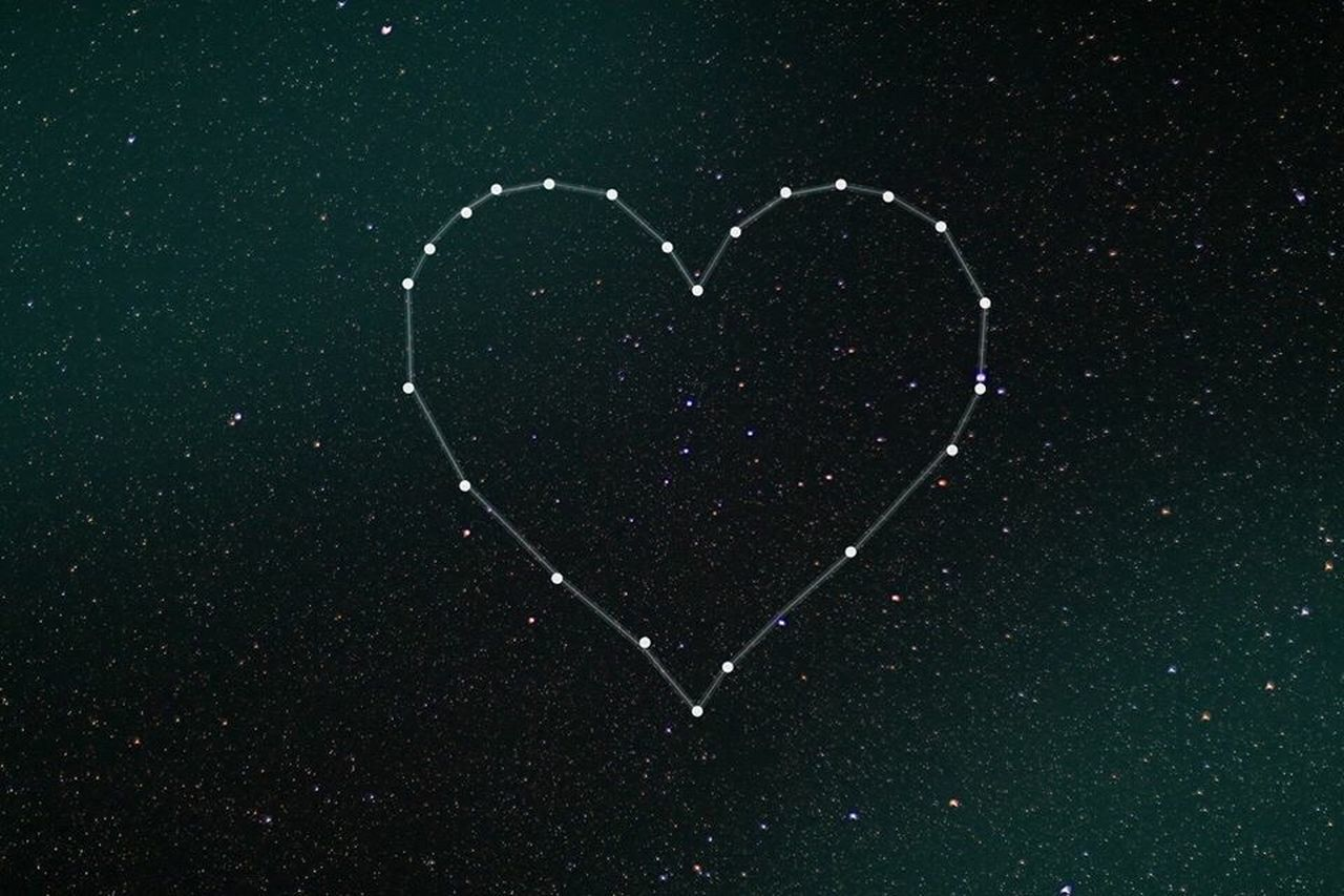 Love Heart Shape Romance Valentine's Day - Holiday Creativity Shape Drawing - Art Product Drawn No People Beauty In Nature Outdoors Day sky full of stars