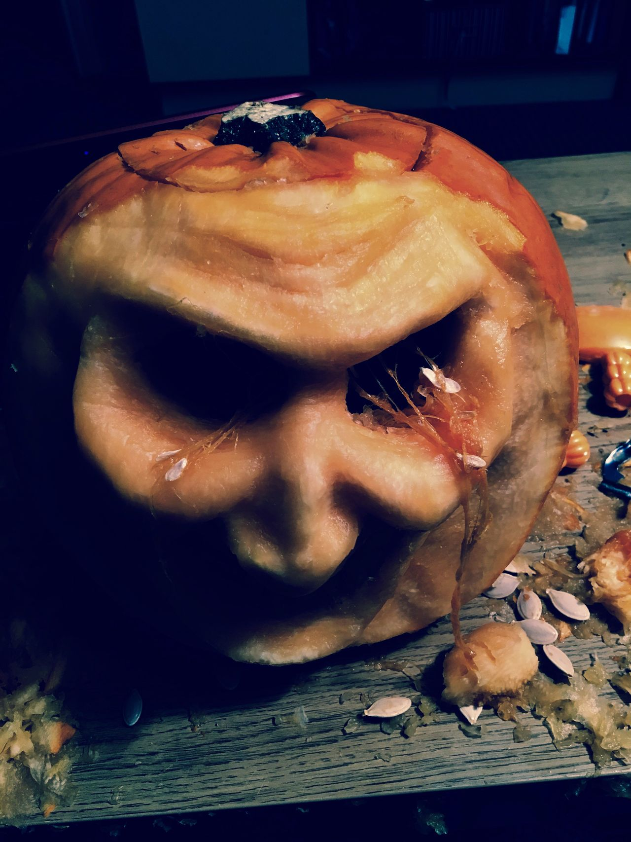 True face of the pumpkin behind all the skin that was pealed off. Halloween Pumpkincarving Trueface Angry Alone Pumpkin Seeds