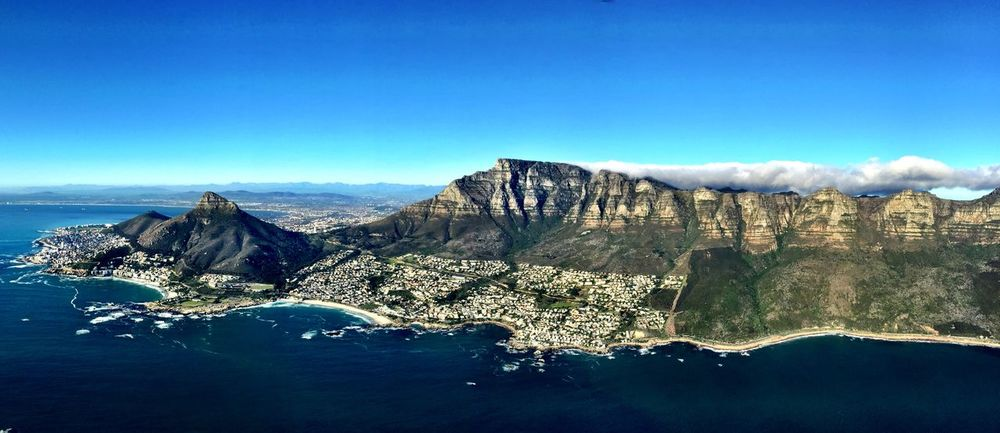 Panoramic Enjoying The View Flying Helicopter View  Blue Sky Aerial Shot Capetown Cape Town South Africa Aerial View Landscapes With WhiteWall Flying High