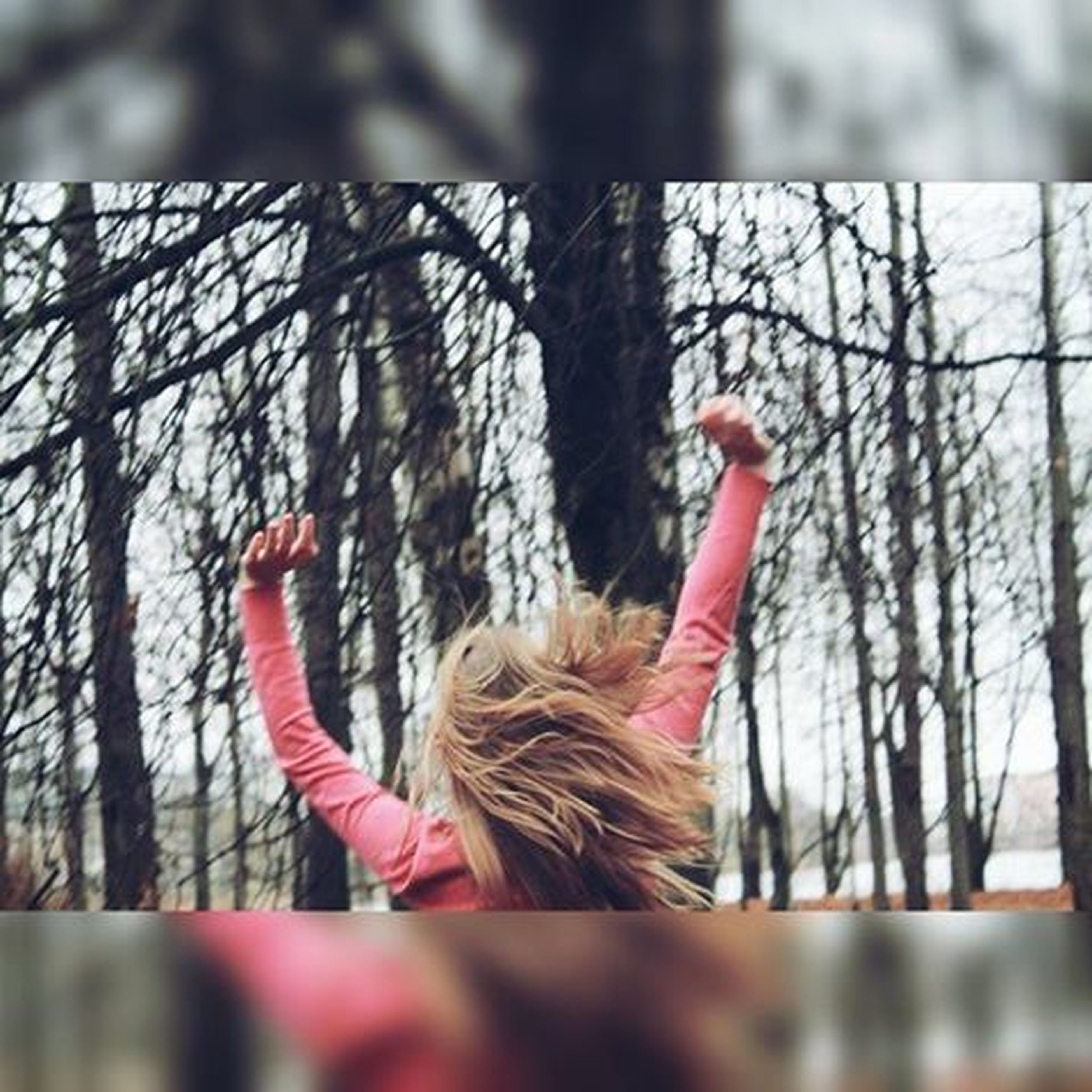 tree, focus on foreground, day, childhood, sitting, selective focus, leisure activity, lifestyles, outdoors, sunlight, red, low angle view, person, holding, full length, hanging, girls