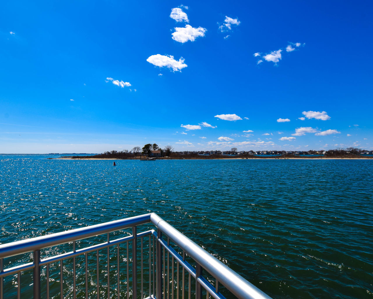 blue, sky, railing, water, cloud - sky, day, outdoors, nature, no people, scenics, sea, beauty in nature, tree