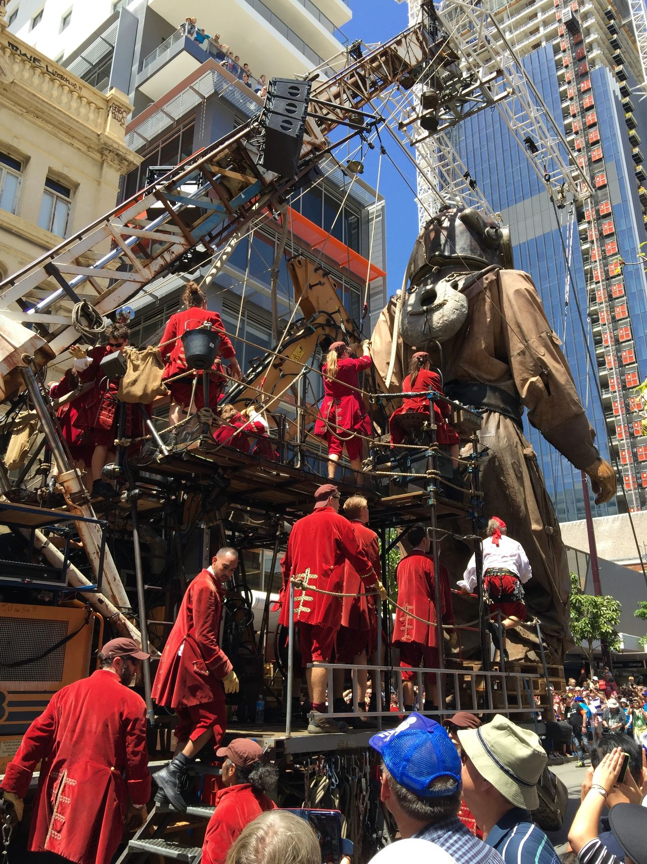 PERTH, AUSTRALIA-FEBRUARY 14, 2015: Journey of the Giants, Giant Marionette Diver and Puppeteers in action, public International Arts Festival Art Art Event Australia Australianshepherd Belts And Pulleys City Cityscape Crane Crowds Culture Diver Festival Giant Human International Journey Marionette People Puppeteers Walking Winchester Wooden