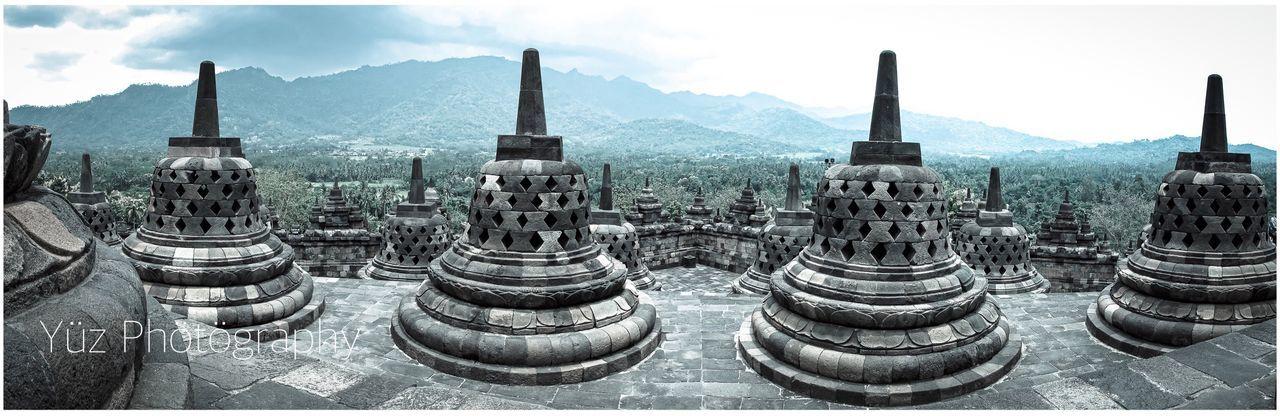 Borobudur Temple, Indonesia Panoramic Place Of Worship Travel Destinations Architecture Cultures Religion Dome Landscape Scenics Outdoors Day Nikond90photographer Nikonphotography Nikontop_ NikonAsia Nikonworld_