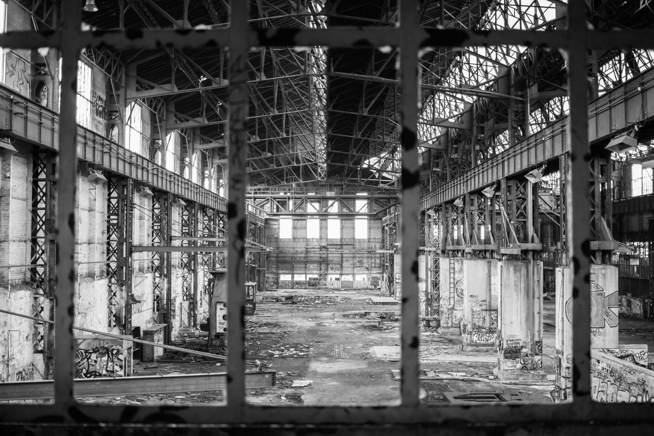 indoors, abandoned, no people, architecture, factory, day