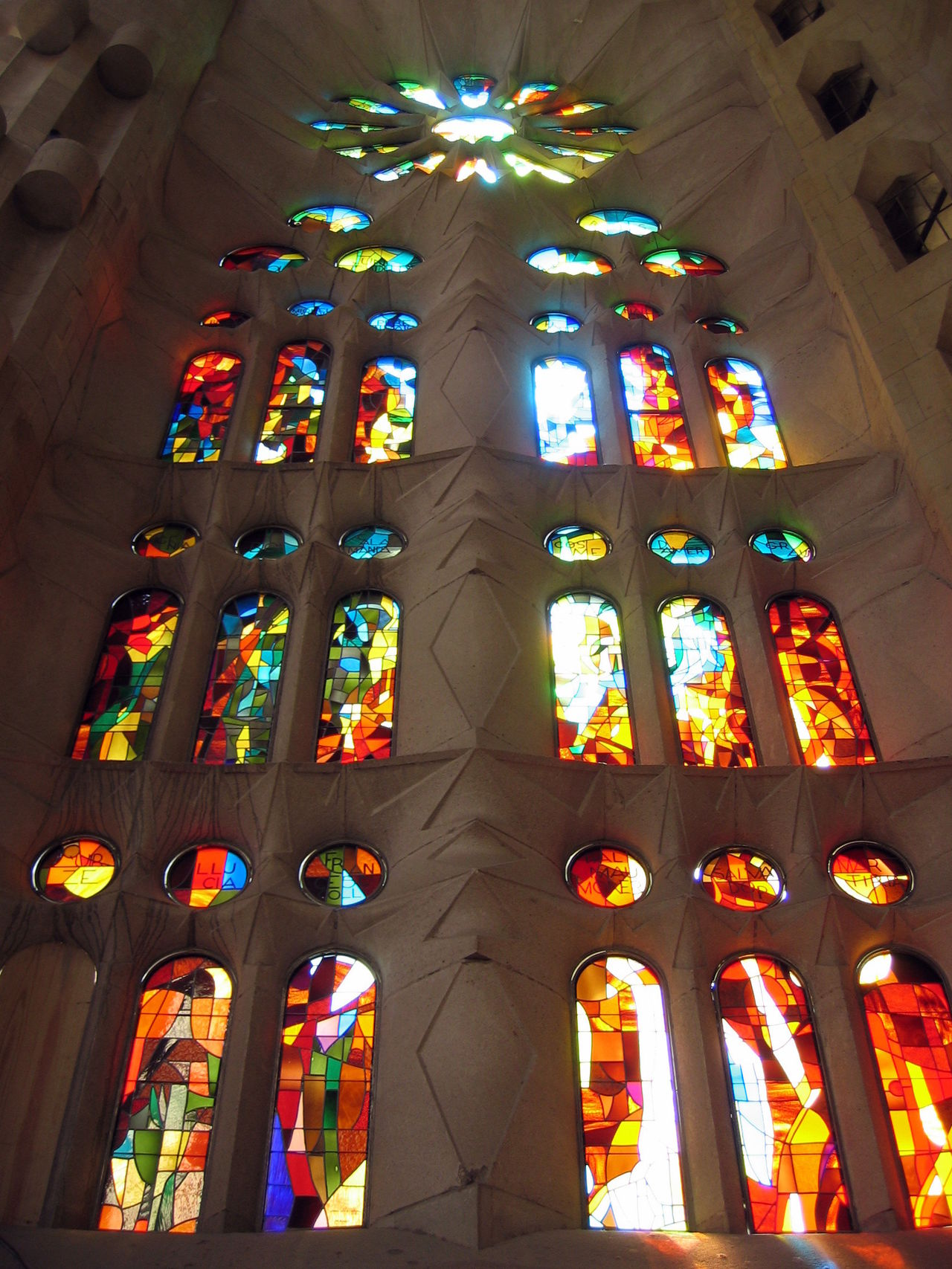 Architecture Barcelona Built Structure Cultures Day Gaudi Illuminated Indoors  Low Angle View No People Place Of Worship Religion Rose Window S Spirituality Travel Destinations