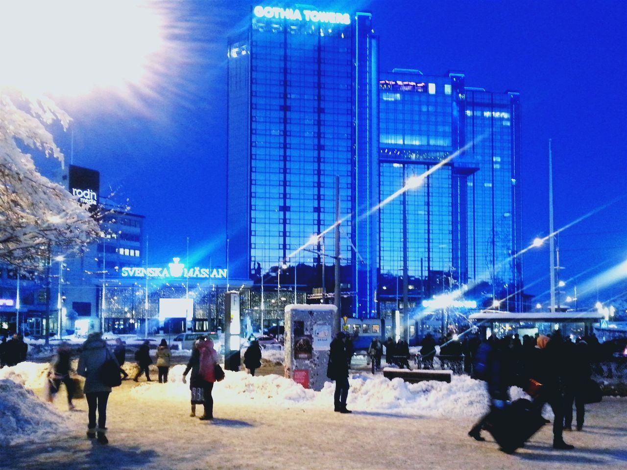 Gothia Towers By Winternight Gothenburg Winterview Snowy Citystreets