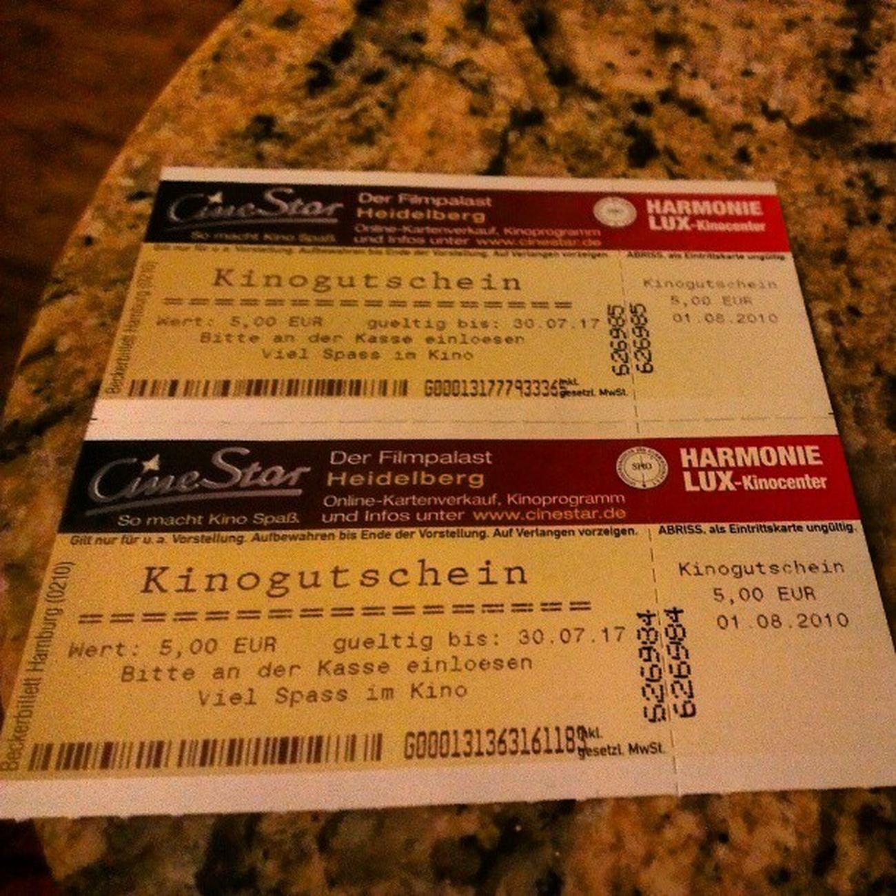 Hoffen wit mal, dass die Gutscheine im Cinestar in Ludwigshafen Gültigkeit haben. Kino