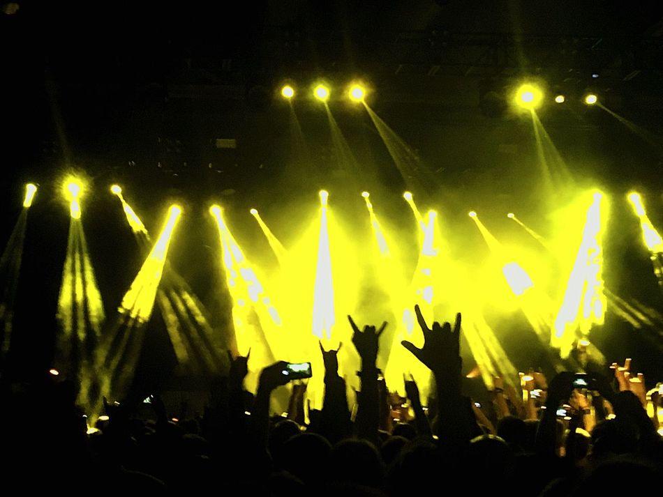 Enjoying Amon Amarth great Deathmetal Performance ... Arts Culture And Entertainment Audience Nightlife Crowd Event Illuminated Stage Light Silhouette Metalhead Heavy Metal Columbiahalle Vikings  Berlin