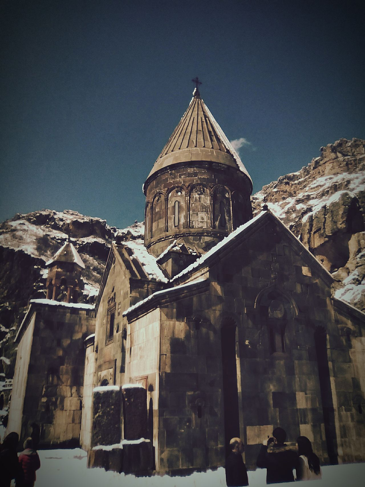 Architecture History Religion Travel Destinations Built Structure Building Exterior Place Of Worship Outdoors Ancient Winter Snow Sky Medieval City Mountain Wonderful View Landscape Garni Geghart 😍😌😊 Spring With Snow Traveling In Armenia