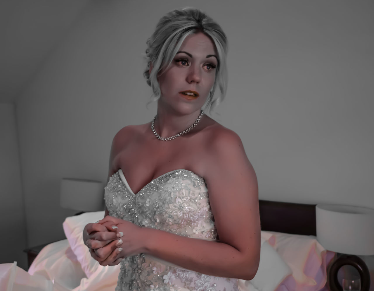 from last years wedding remixed Beautiful People Beautiful Woman Beauty Blackandwhite Blond Hair Bride Colour Pick Effect Eye4photography  EyeEm Best Edits EyeEm Best Shots EyeEm Gallery EyeEmBestPics Fashion Glamour Looking At Camera Memories Portrait Wedding Wedding Dress
