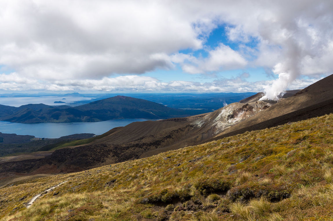 Hiking Lake Taupo Ruapehu Smoke Tongariro Crossing Tongariro National Park Volcano Landscape Beauty In Nature Cloud - Sky Clouds Day Landscape Mountain Mountain Range Nature New Zealand No People Outdoors Physical Geography Remote Scenics Sky Tranquil Scene Tranquility Water