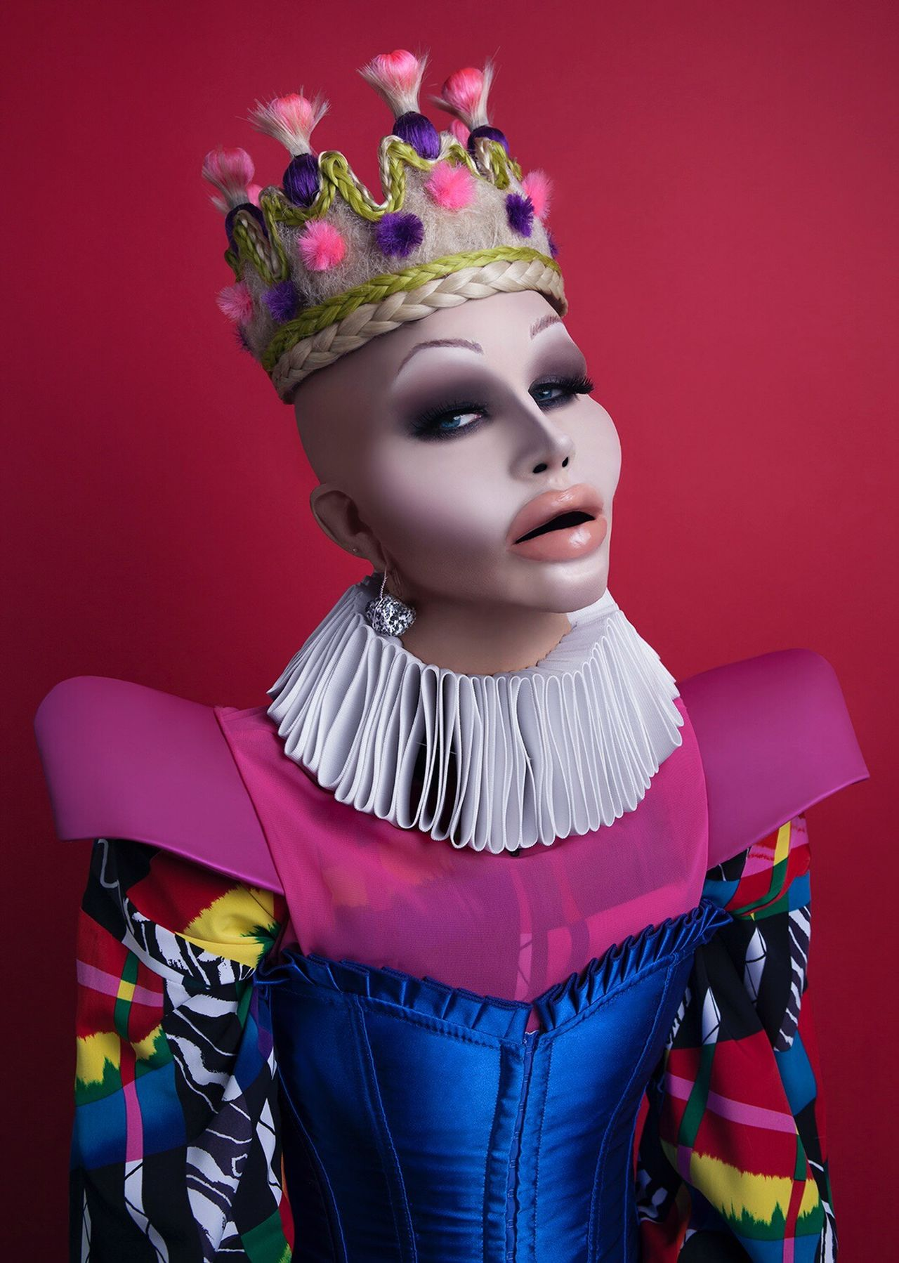 Self portrait. 💋 makeup/prosthetics/magician: Joel King. Hair crown: Heather Werner. Blouse and collar: Rachel Riot. Female Likeness Beauty One Person Indoors  Day Self Portrait Queen Bald Botched Plastic Surgery Makeup Overdone Gender Gender Roles Satire