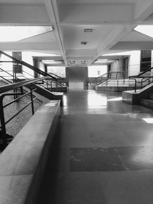 Indoors  Built Structure Railing Ceiling Architecture The Way Forward Steps Day Architectural Feature No People Iitk Iit College Classrooms Lecture Hall Corridor Wing