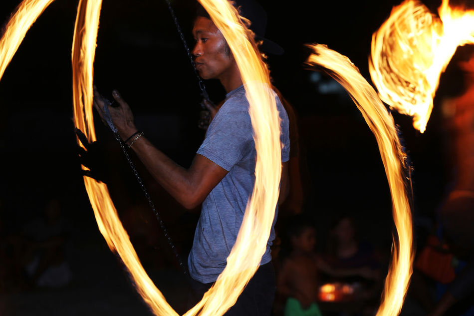 Walk with fire Beach Performance Fire Dancer Langkawi Malaysia Night Entertainment Night Life Night Lights Pantai Cenang Ring Of FIRE…  Solo
