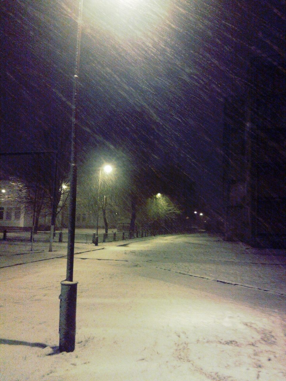 night, snow, illuminated, cold temperature, winter, street light, weather, outdoors, no people, nature, snowing, tree, sky