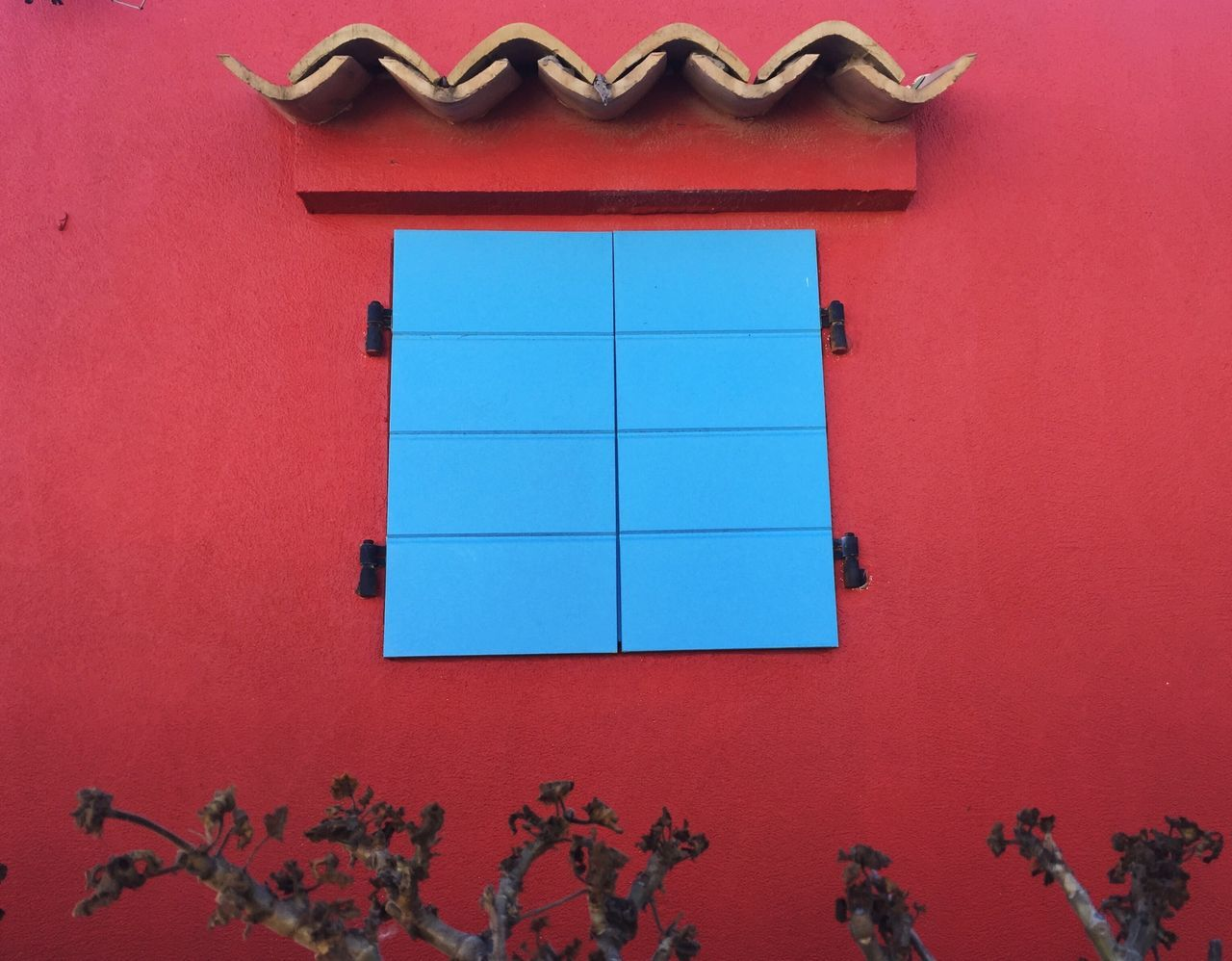 Colors And Patterns absolute red, by Claudia Ioan Window Built Structure Architecture Building Exterior Red Wall Plant Vibrant Color Geometric Shape Day Mobile Photography IPhoneography Iphone6 The Roll EyeEm Gallery TakeoverContrast VSCO Vscocam Low Angle View