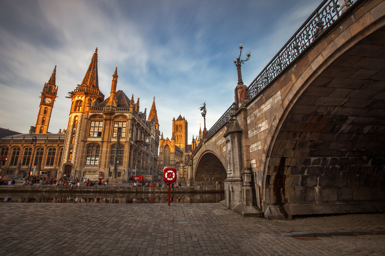 Architecture in center of Gent City from Belgium. Arch Architecture Belgium Bridge Building Built Structure Canal Center City Cityscape Cloud - Sky Europe Exterior Gent Ghent Historic Historical Landmark Street Photography Tourism Tower Town Travel Travel Destinations Urban