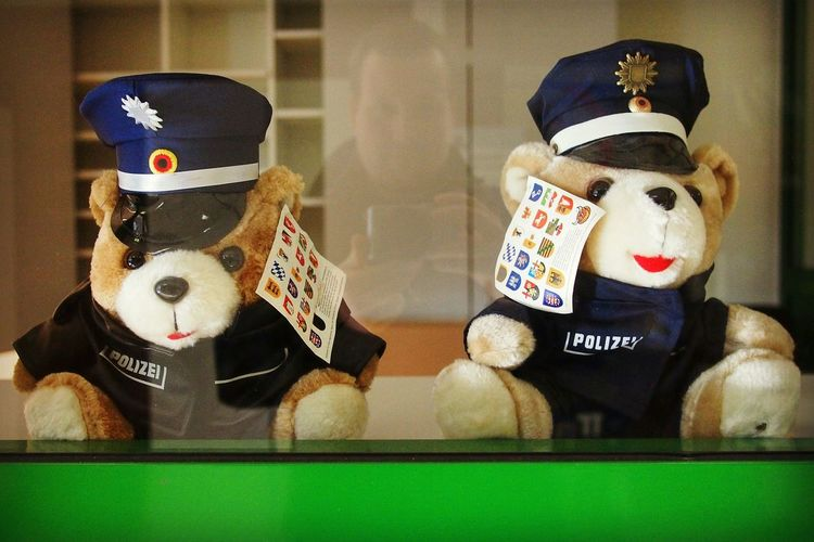 Let there be love says the teddy bear - MAinLoveWithPeople and two Little Bears Sitting Behind Glass Watching Me Myself In Love Love Police Police Station Police Officers Portrait Fun with Stuffed Animals How I See Things How I See The World - 30.10.2015 (this picture was taken inside the police station with friendly permission)