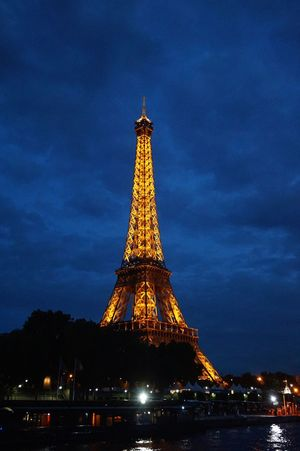 Eiffel Tower Travel Destinations Tower Architecture Night View Night Lights Paris, France  On The Ship
