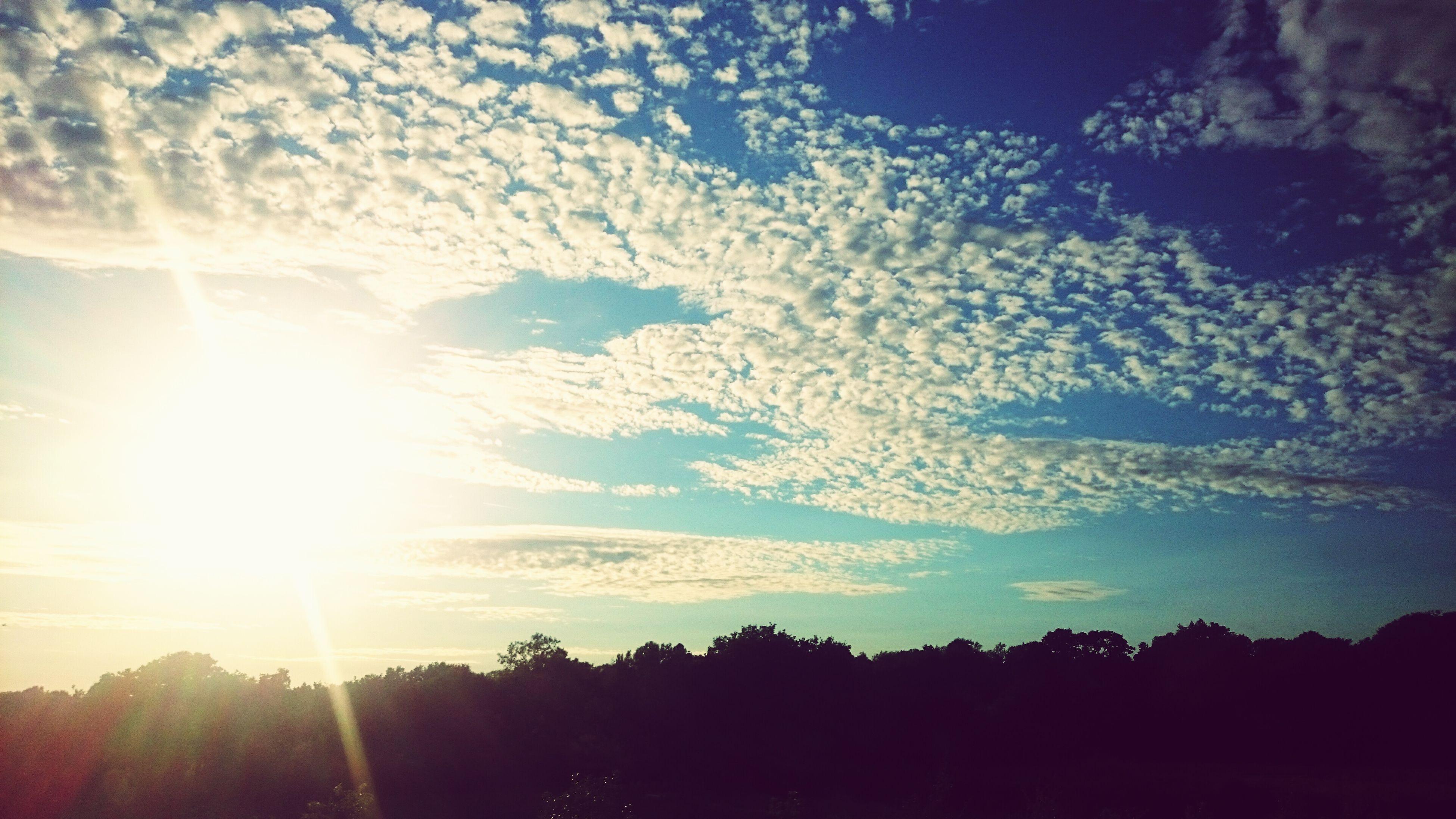 sun, sunbeam, silhouette, sunlight, tranquility, tranquil scene, scenics, beauty in nature, sky, lens flare, sunset, tree, nature, landscape, cloud - sky, idyllic, bright, low angle view, non-urban scene, cloud