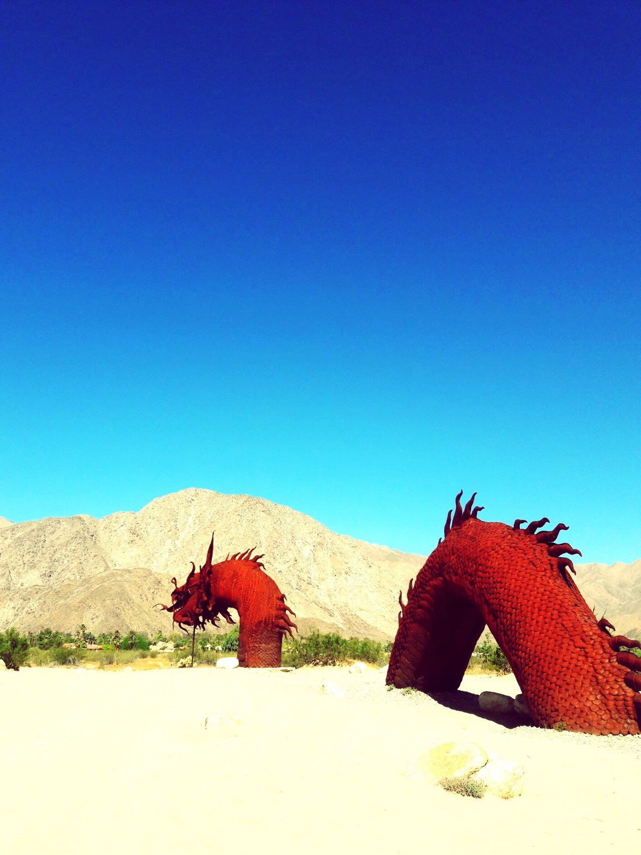 Desert Dragon Continued Clear Sky Blue Copy Space Day No People Nature Red Outdoors Tranquil Scene Sunlight Desert Sand Beauty In Nature Sky Borrego Springs Serpant Metal Art How Long Is It Neverending
