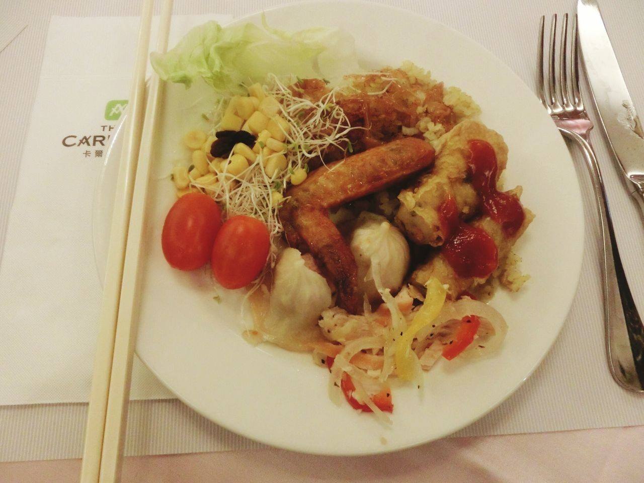 food and drink, food, plate, ready-to-eat, indoors, freshness, healthy eating, fork, no people, high angle view, table, vegetable, close-up, serving size, day